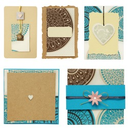 Paper cards scrapbook elements collection isolated on white background.