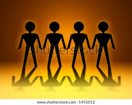 Paper Chain Men Concept is Teamwork