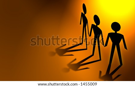Paper Chain Men on colored background