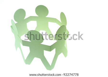 Paper chain people holding hands on white