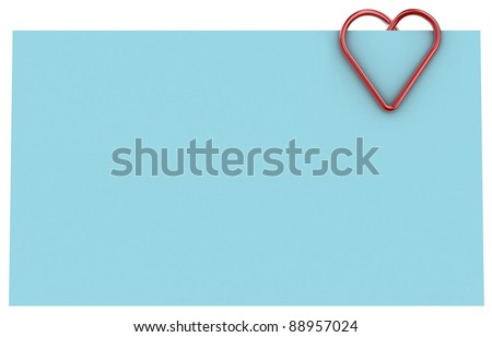 Paper clip illustration in the form of heart on a sheet of paper