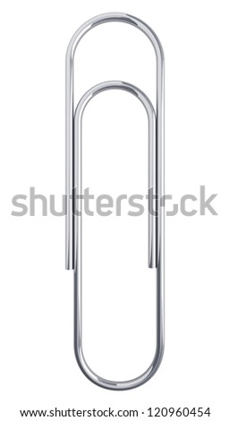 Paper clip isolated at white background. 3d render illustration