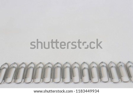 Paper clips on a white background