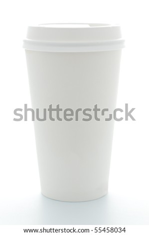 paper coffee cup with plastic top isolated on white background