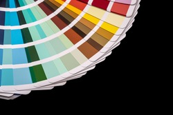 Paper color palette displaying a range of hues for design and decoration.