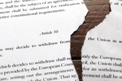 Paper copy of article 50 ripped in two. Close up view showing some genuine text of article 50 of the Lisbon treaty. Represents Brexit arguments over extending or revoking UK leaving the EU
