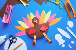 paper craft for kids. DIY Turkey made for thanksgiving day. create art for children.