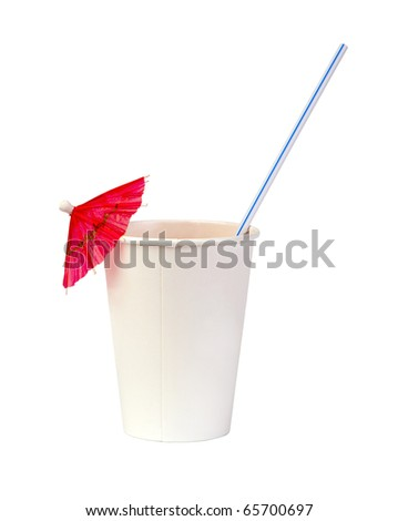paper cup with a straw and pink cocktail umbrella isolated on white background
