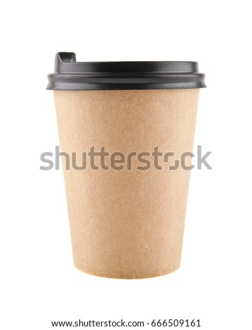 Paper cup with coffee isolated on white background close-up
