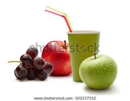 Paper cup with grapes and apples
