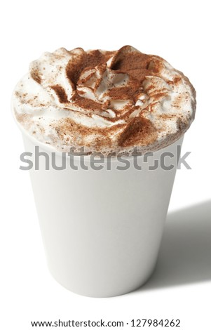 Paper cup with hot coffee drink isolated on white #127984262
