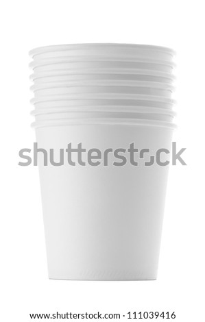Paper cups , Isolated on white