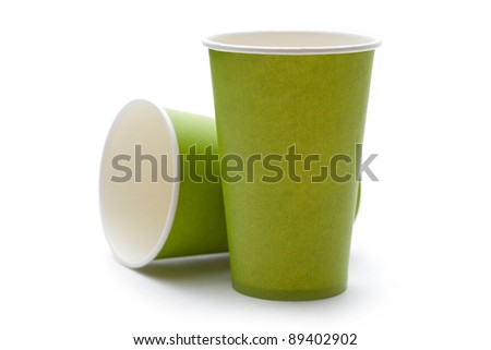 Paper cups on a white background