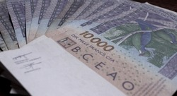 Paper currency F CFA (XOF) of the West African monetary union displayed in bills of 10,000 francs laid out in fan isolated on wooden background