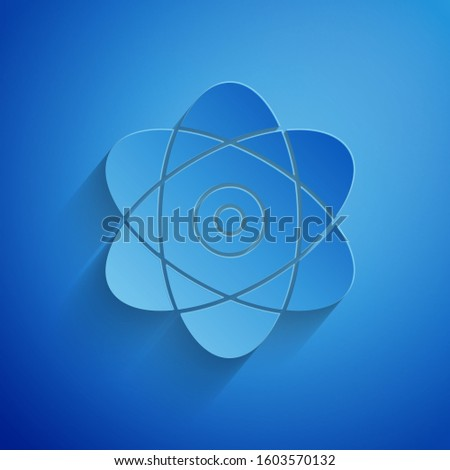Paper cut Atom icon isolated on blue background. Symbol of science, education, nuclear physics, scientific research. Electrons and protons sign. Paper art style.