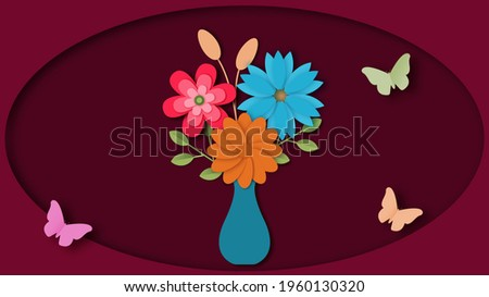 paper cut aut style illustration depicting wildflowers in vazhe surrounded by butterflies on a burgundy background Stock fotó ©