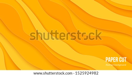 Paper cut background. 3D abstract wave layers, flat origami poster design with cascade forms.  liquid layered color brochure design elements