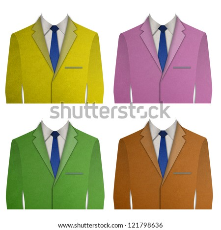Paper cut Colorful business suit with a tie on white background