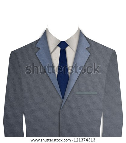 Paper cut Gray business suit with a tie