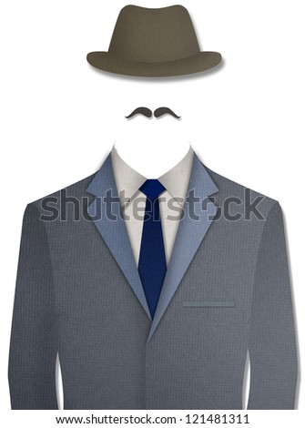 Paper cut Gray business suit with hat on white background