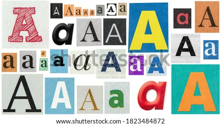 Paper cut letter A. Old newspaper magazine cutouts for creative crafting Foto stock ©