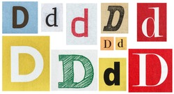 Paper cut letter D. Old newspaper magazine cutouts for scrapbook crafting