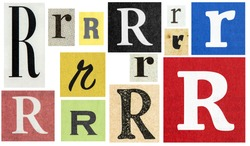 Paper cut letter R. Newspaper cutouts for scrapbooking and crafting