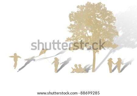Paper cut of children play