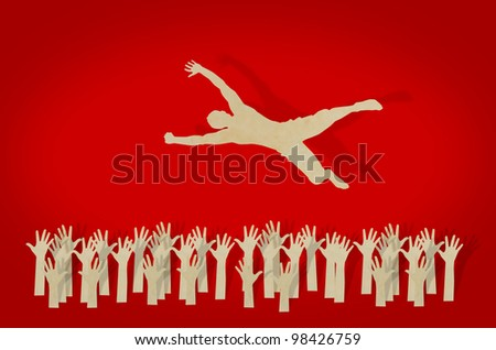 Paper cut of man jump over jubilant crowd