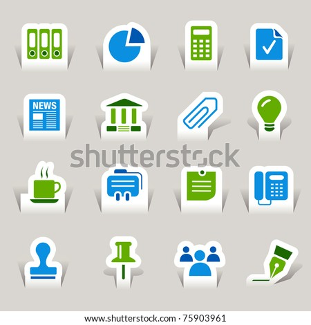 Paper cut - Office and Business icons