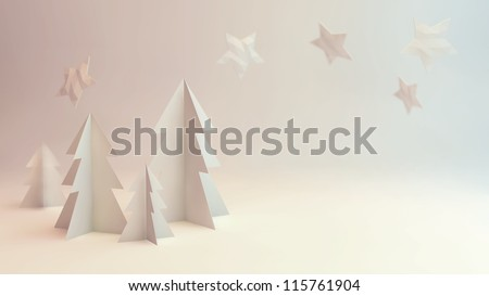 Paper cut out 3D rendering winter scene illustration with trees and stars