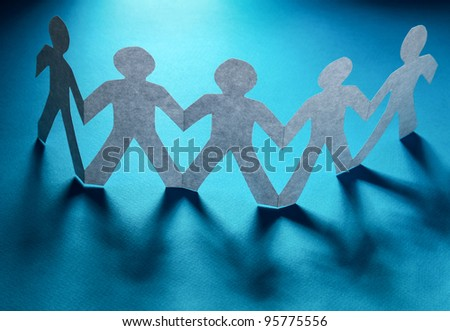 Paper cut people, isolated on blue background