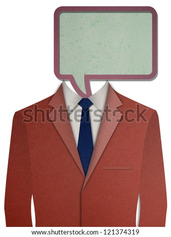 Paper cut Red business suit with a dialog box