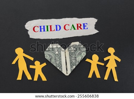 Paper cutout family with Child Care text