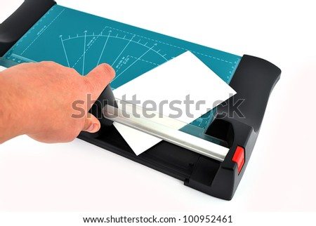 paper cutter on a white background