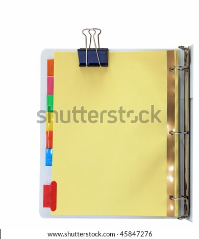 Paper divider with colorful tabs on three ring binder