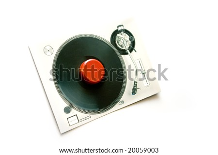 Paper DJ card pinned to white background