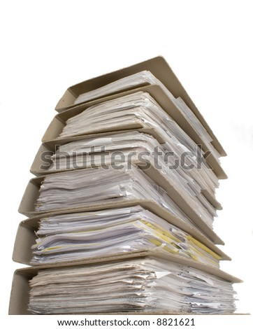 Paper document place one on other in white background