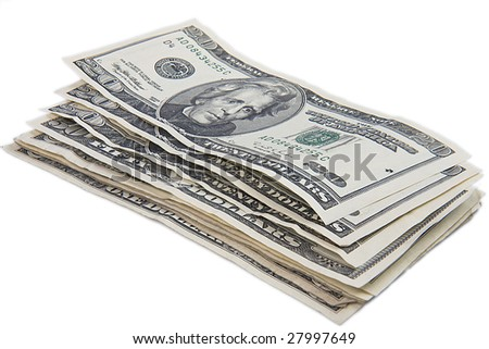 paper dollars on white background
