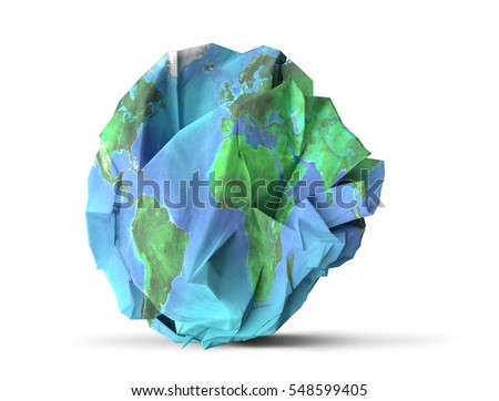 Paper earth recycle and sustainability concept 3D illustration. Elements of this image furnished by NASA.