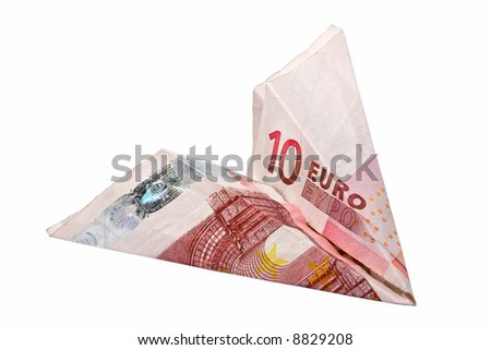 Paper 10 Euro Plane isolated over white background