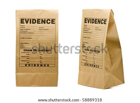 Paper evidence bag front and side isolated on white background Сток-фото ©