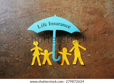Paper family of four under a Life Insurance paper cutout umbrella                                #279872624
