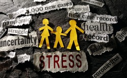 Paper family of three surrounded by Coronavirus and economic related news headlines with Stress in red