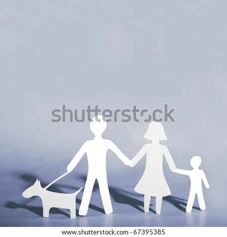 Paper family with dog