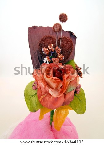 Paper flower art used in wedding ceremonies as gift with candy floss top view
