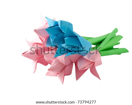 Paper flower isolated on white.