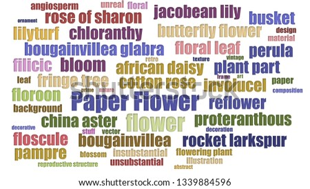 Paper Flower Tagcloud Neatly Isolated