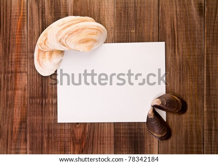 paper for a record with cockleshells on a wooden background - stock photo