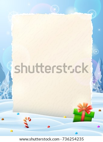 Paper for christmas list sticking out of snow. Christmas template with blank paper and gift. Best illustration for new years day, christmas, winter holiday, new years eve, silvester, etc